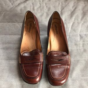 Chocolate Brown Loafers with Small Heel